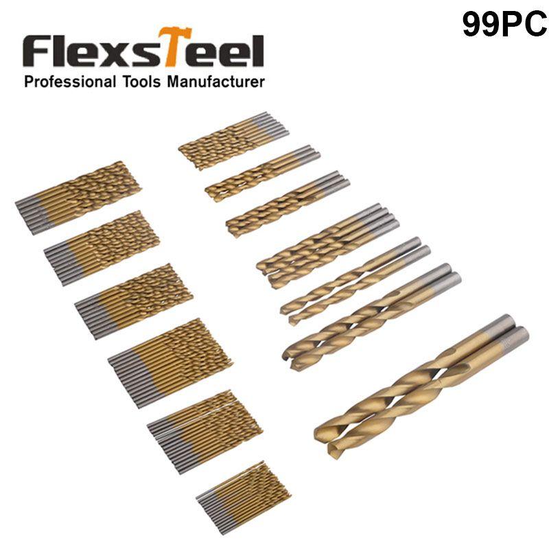 Flexsteel 99 pièces 1.5-10mm HSS métal foret hélicoïdal Set titane enduit Surface Broca 118 degrés forets pour outils électriques en métal
