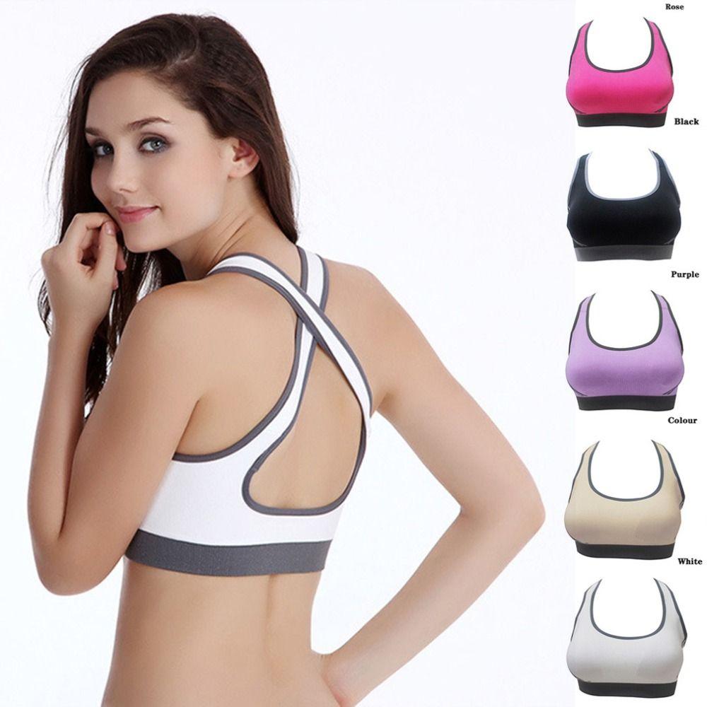 Heißer Verkauf! Multicolors! frauen Gepolsterte Top Sportlich Vest Gym Fitness Sport-Bh Stretch Baumwolle Nahtlose beliebte