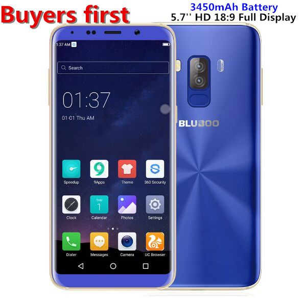Bluboo S8 Android 7.0 5.7'' 18:9 HD Display 4G LTE Smartphone MTK6750 Octa Core RAM 3GB ROM 32GB Dual Rear Cam 13MP Mobile Phone
