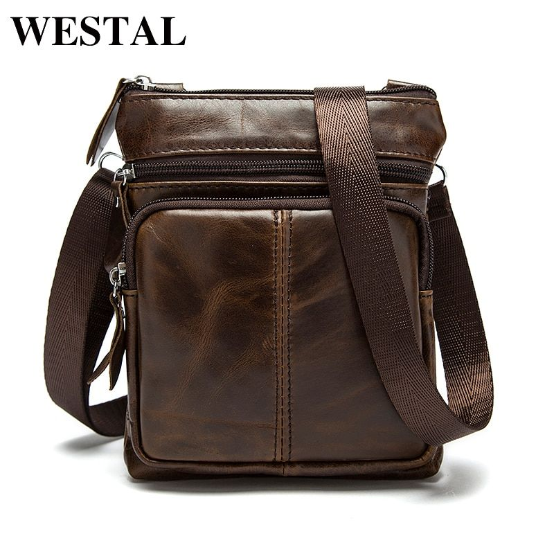 WESTAL Messenger Bag Men Shoulder bag Genuine Leather <font><b>Small</b></font> male man Crossbody bags for Messenger men Leather bags Handbags M701
