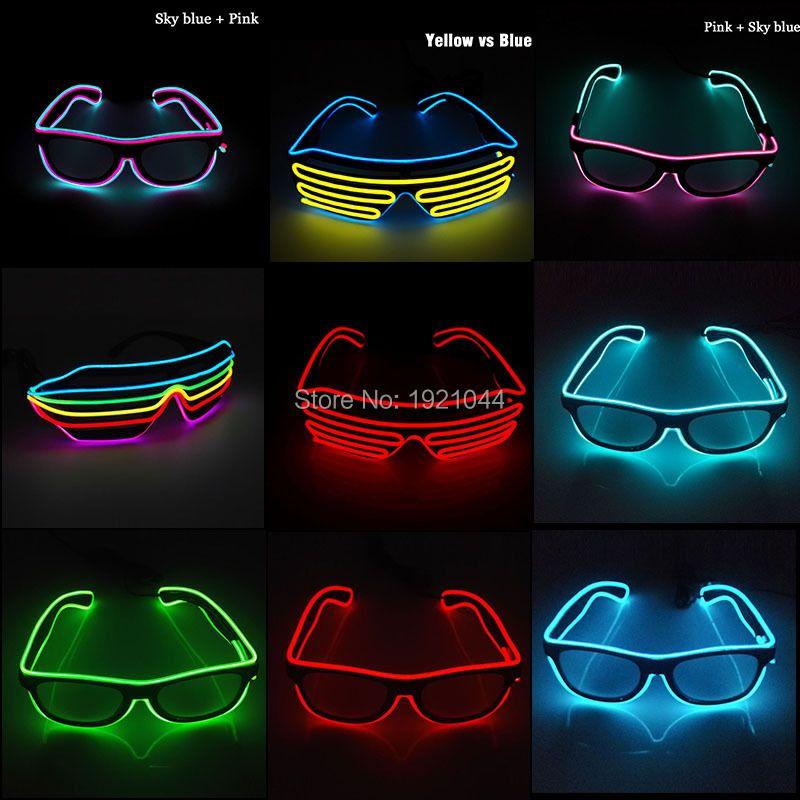 10 couleurs clignotant EL fil lunettes à LED lumineux fête éclairage coloré brillant cadeau pour Dj lumineux lumière fête décoration