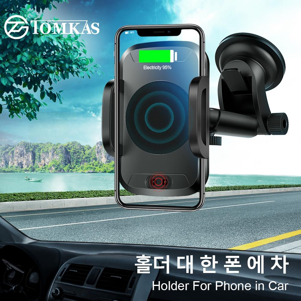 TOMKAS Halter Für Telefon in Auto Qi Drahtlose Ladegerät Für iPhone X 8 Plus Handy Unterstützung Auto Telefon Halter für Samsung S9 S8