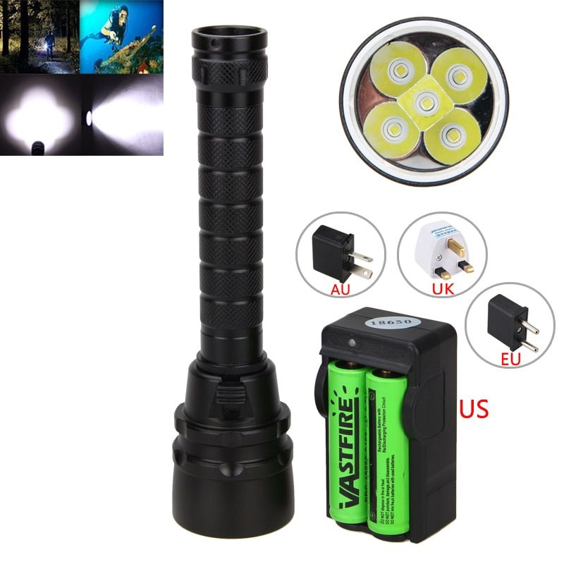 Underwarter <font><b>100m</b></font> 15000Lm XM-L T6 LED Scuba Diving Flashlight Torch lamp +2*18650 Battery+ Charger