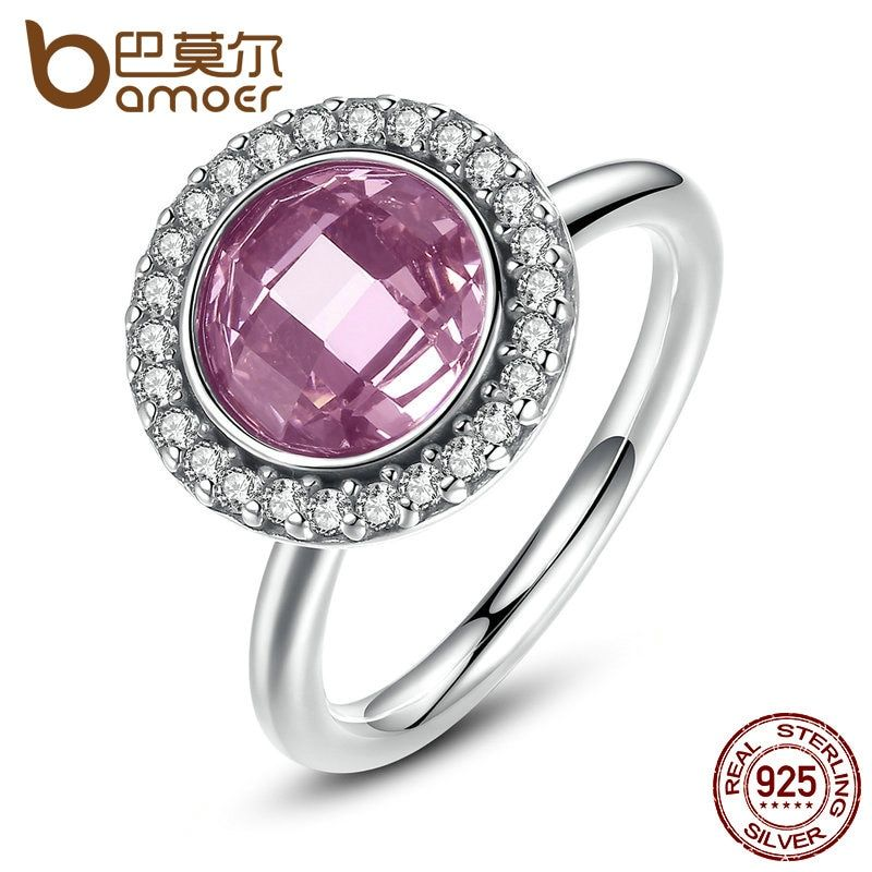 BAMOER Brand New Collection 925-Sterling-Silver Brilliant Legacy Stackable Ring Pink & Clear CZ Ring Jewelry PA7150
