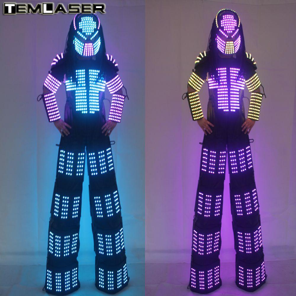 Neuankömmlinge FÜHRTE Roboterkostüm, David Guetta LED-Robot Anzug, Rangers t Stelzen Kleidung Leucht Kostüme
