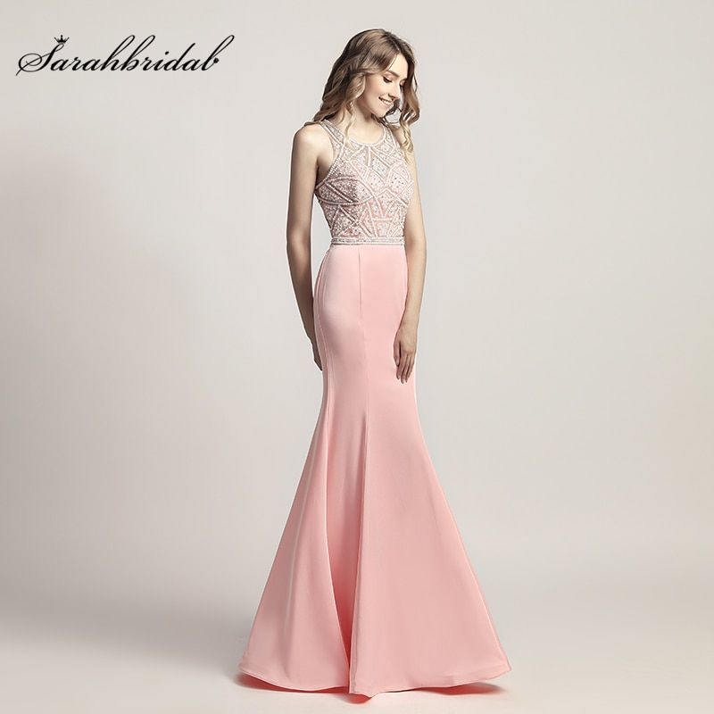2018 New Arrive In Stock Formal Evening Dresses With Mermaid Zipper Sexy Back Floor Length Crystal Beading Robe De Soiree LSX420