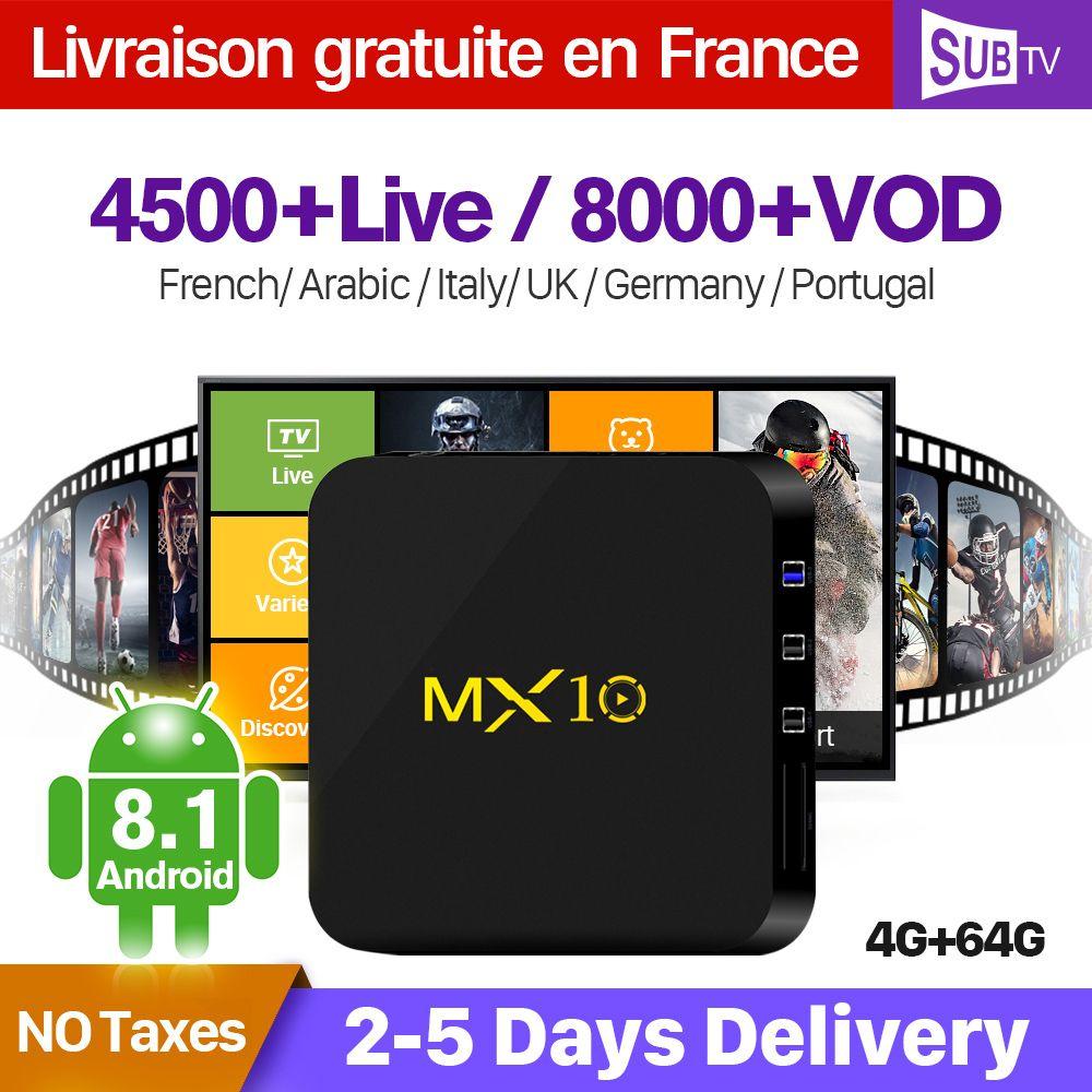 IPTV Boîte De France MX10 Android 8.1 RK3328 1 Année QHDTV IUDTV SUBTV Code IPTV Espagne Italia Néerlandais ROYAUME-UNI Belgique Français arabe boîte d'iptv