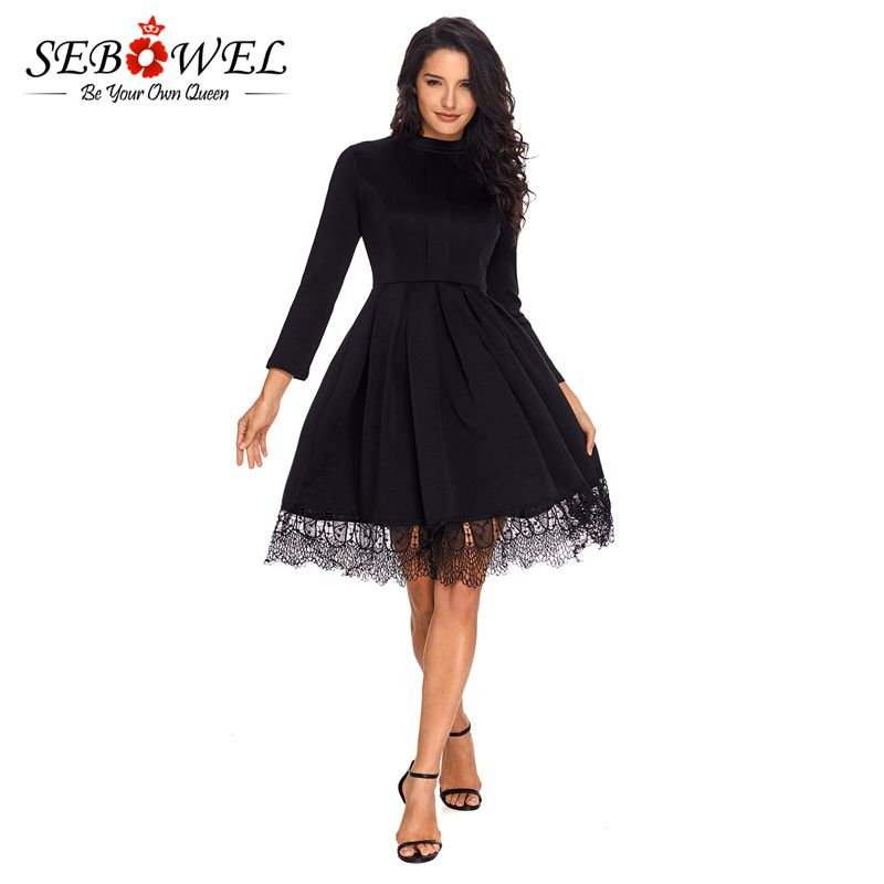 Sebowel Black Winter Sexy Dress For Party Women High Neck Long Sleeve Lace Bodycon Dress Office Lady Skater Dresses Femme Hiver