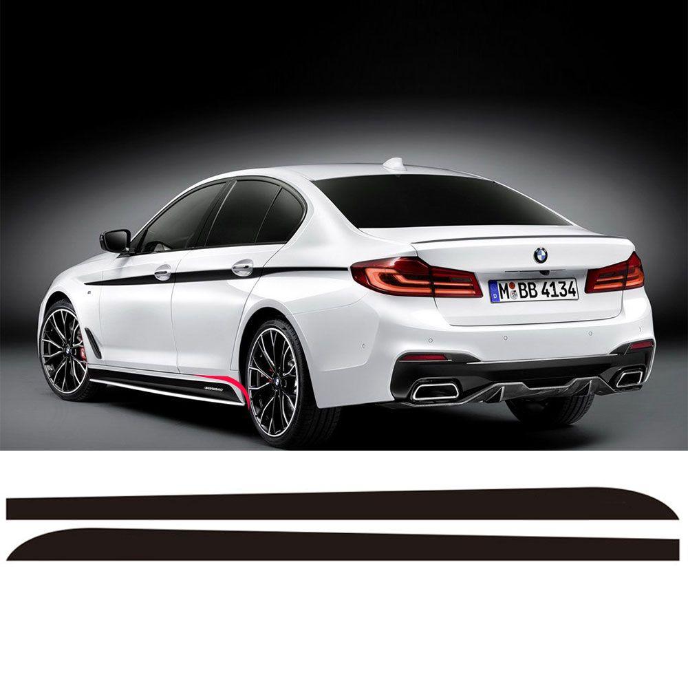 2 Piezas Faldón Lateral Alféizar Compite Con La Raya Vinilo Etiqueta Engomada Para BMW Nuevo Serie 5 G30 2017 2018