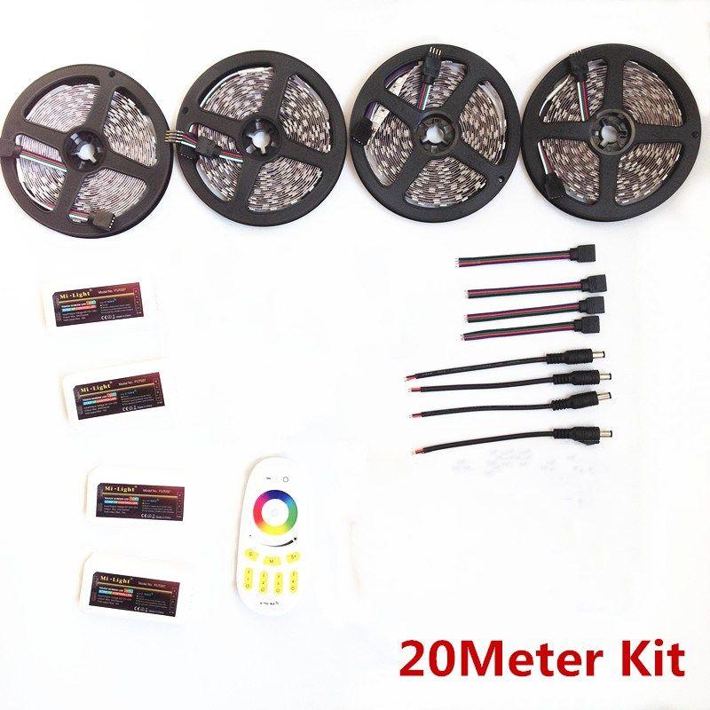 Highlight 5/10/15/20m rgbw rgbww 5050 SMD led strip Mi light dc12V/24V+ 2.4G led controller+remote controller