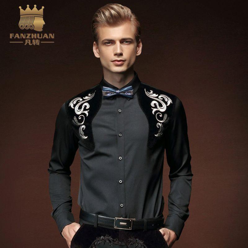 FANZHUAN 2017 Herbst neue Mode Herrenbekleidung Langärmeligen T-shirt männer Selbst-anbau Stitching Kleidung Auf die Größe Von M-5X