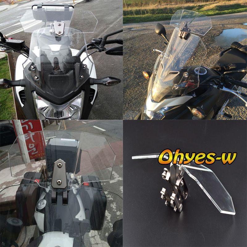 Airflow Adjustable Windscreen Clear Bolt-On Variable Spoiler Blade For Honda Yamaha Suzuki Kawasaki BMW Aprilia Ducati Universal