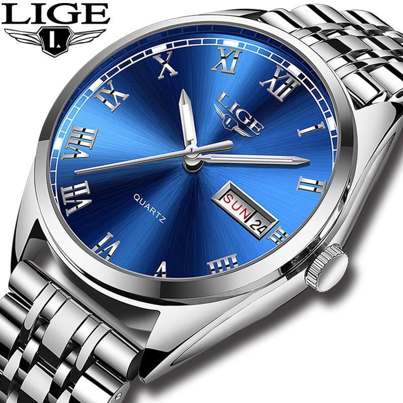 LIGE Uhren Männer Wasserdichte Edelstahl Luxus Analog Handgelenk Uhren Woche Display Datum Sport Quarzuhr Männer Montre Homme