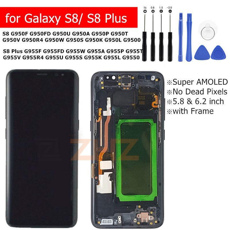 For Samsung Galaxy S8 S8 Plus G950 G955 Lcd Display Touch Screen lcd Digitizer Assembly with frame Replacement Repair Parts