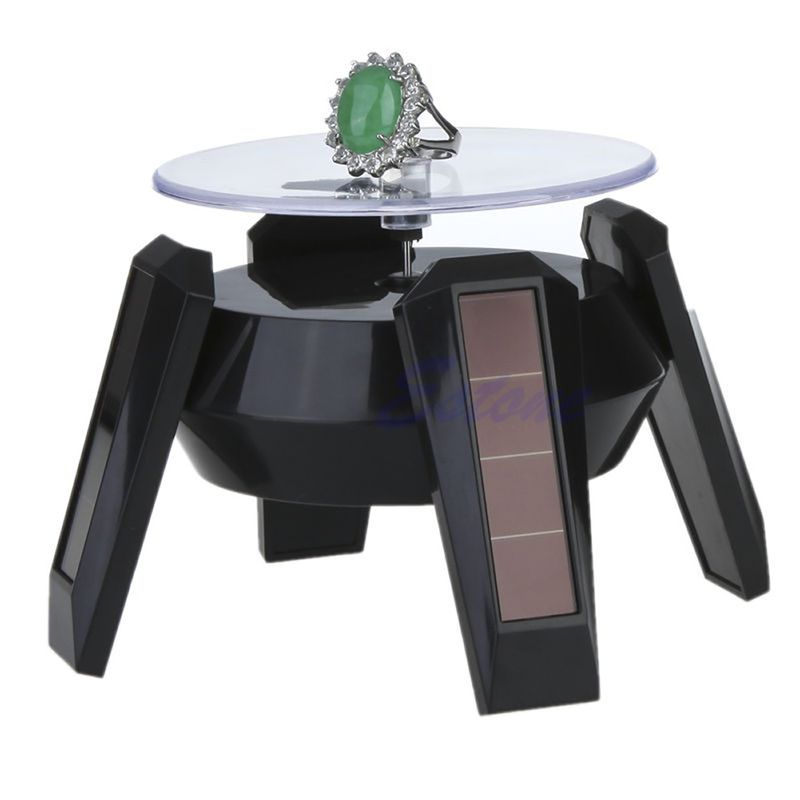 JAVRICK Jewelry Tool Solar Power 360 Degree Jewelry Rotating Display Stand Turn Plate Table Jewelry Organizer Hard Display Stand