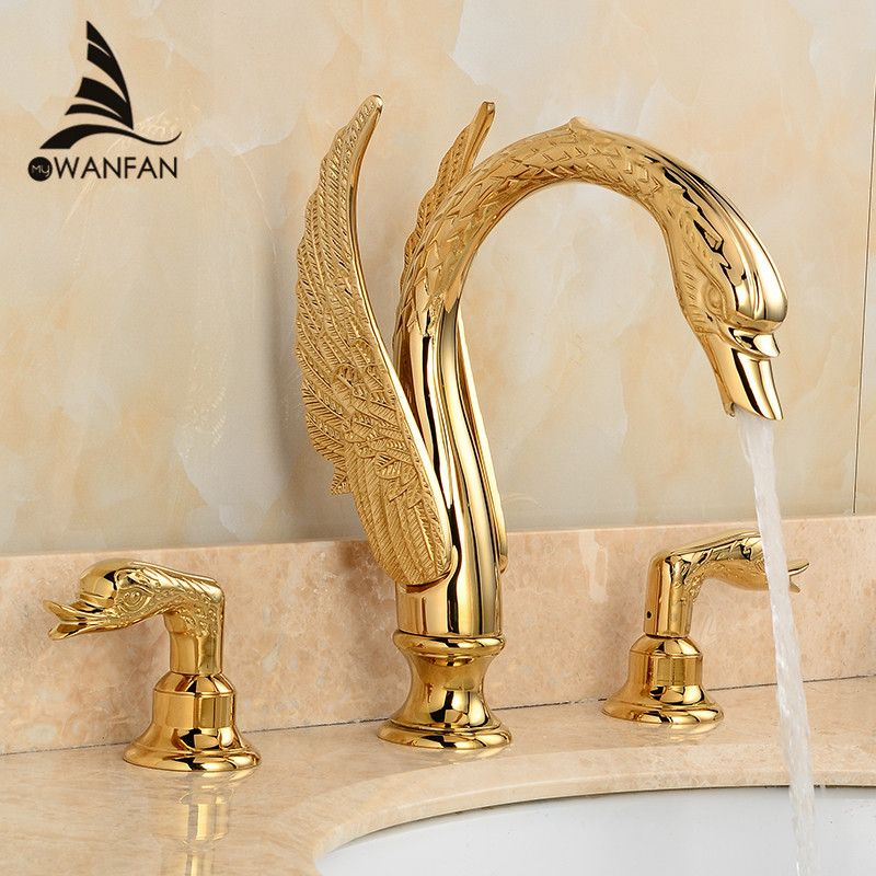 Luxury Bathroom Basin Faucets Gold Finish Swan Home Decoration Tap Dual Handle Three-hole Modern Washbasin Crane Tap LH-16831