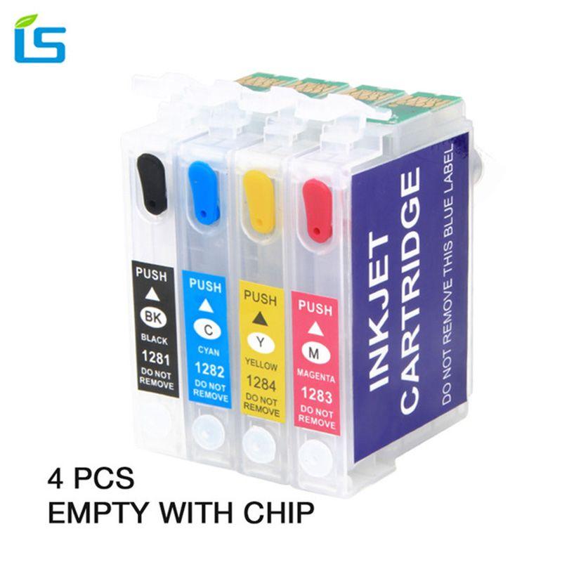 4pcs/set T1281 T1282 T1283 T1284 Empty Compatible Ink cartridge for EPSON stylus S22 SX130 SX125 SX235W SX435W SX425W Printers