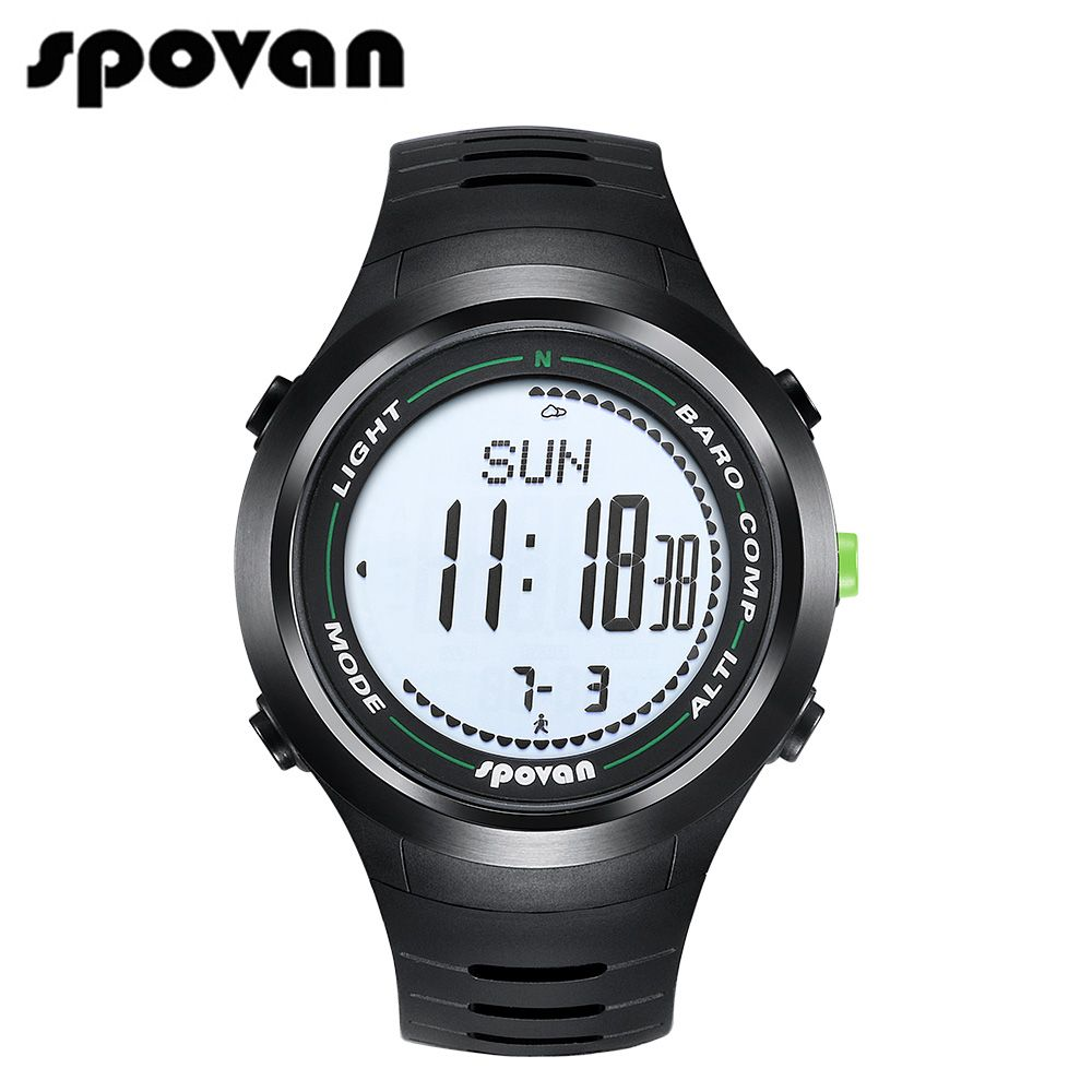 SPOVAN Men Sport Watch, Wrist Sports Watches, 50m Waterproof LED Backlight/Compass/3D pedometer/Calorie count Leader2