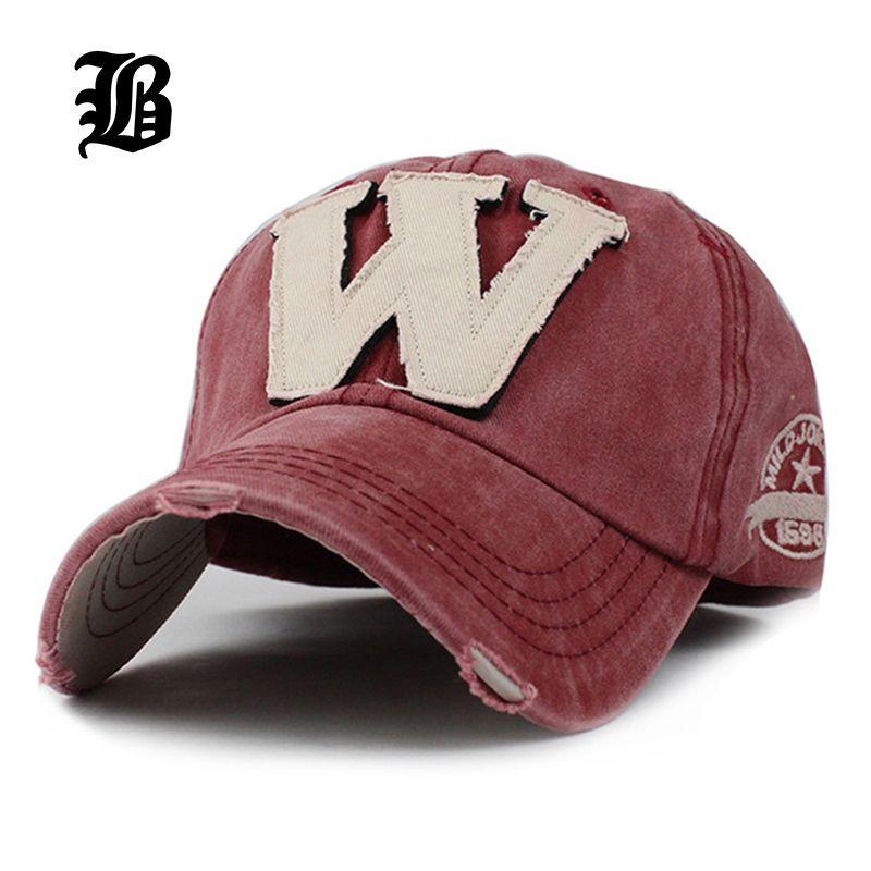 [FLB] algodón Bordado de la Letra W Gorra de béisbol Casquillos Del Snapback Hueso casquette Sombrero Apenada Sombrero Cabido Para Los Hombres Sombreros Personalizados