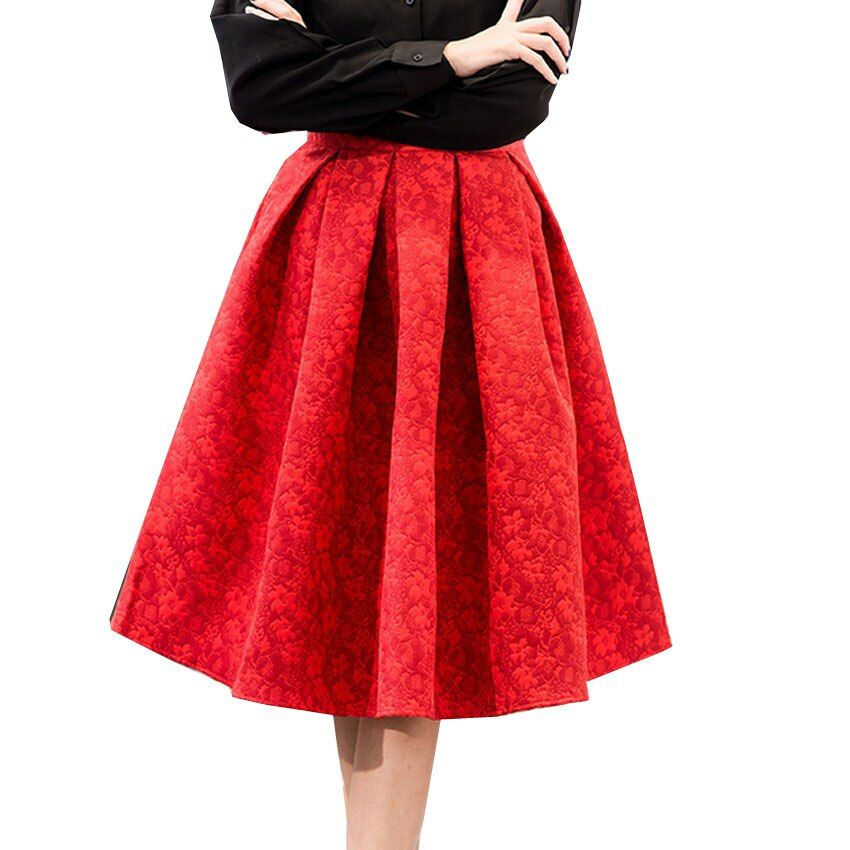Mujeres Faldas de Cintura Alta Faldas Midi Mujeres Elegantes de Las Señoras Jacquard Midi Faldas Plisadas de Las Mujeres Hasta La Rodilla Saia Feminina