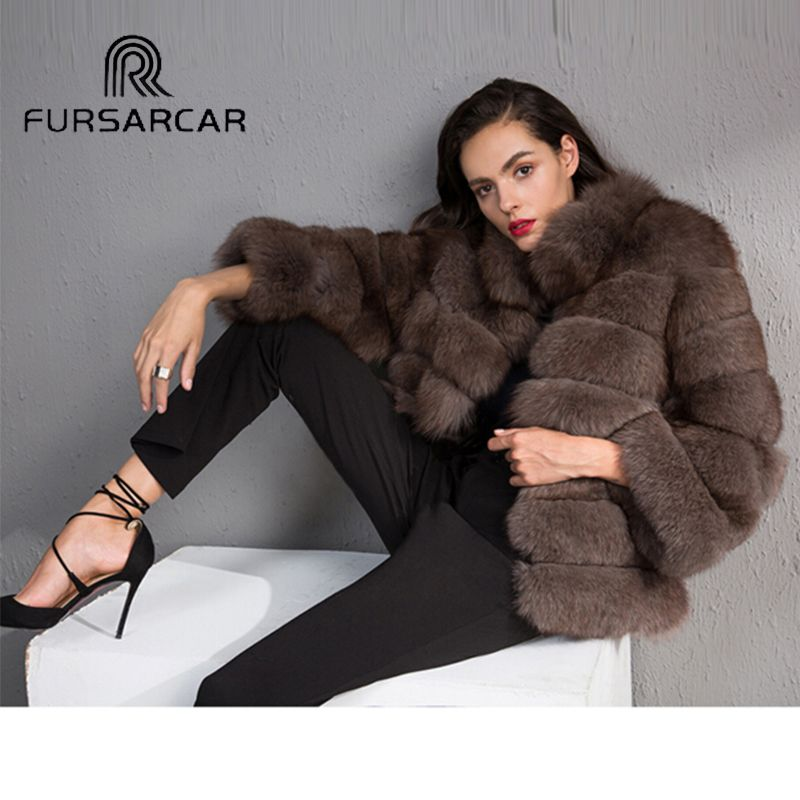 FURSARCAR Luxury Women Winter Natural Fox Fur Whole Skin Genuine Female Jacket NEW Thick Real Short Fox Fur Coat With Fur Collar