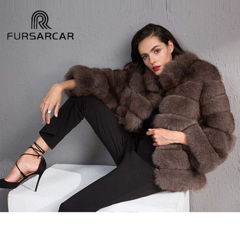 FURSARCAR Luxus Frauen Winter Natürliche Fuchspelz Ganze Haut Echte Weibliche jacke NEUE Starke Echt Short Fuchspelz Mantel Mit Pelzkragen