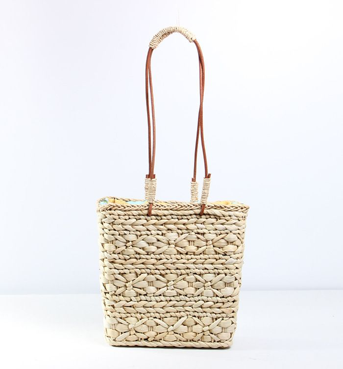 2018 new simple fashionable hand-made corn skin cowhide canvas single shoulder lady's straw woven bag beach bag