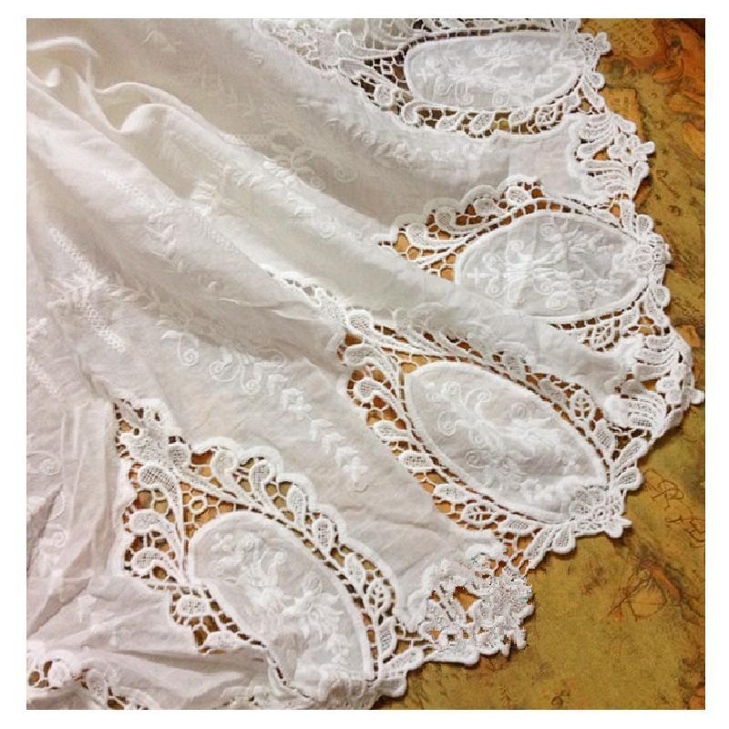 Coton Dentelle Tissus 100% Suisse Coton Brodé Tissu Pour Robe Appliqued Double Côtés Chimique Dentelle Pétoncles bricolage Garnitures 130 CM