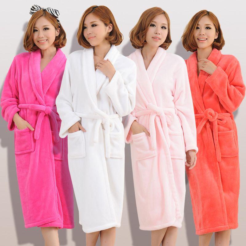 2017 Autumn winter bathrobes for women men lady's long sleeve flannel robe female male sleepwear lounges homewear pyjamas