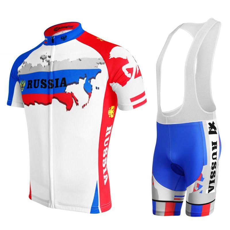 2018 nouveau maillot de cyclisme ropa Ciclismo hommes à manches courtes vélo vêtements porter russie équipe blanc jersey ensemble top cuissard gel pad