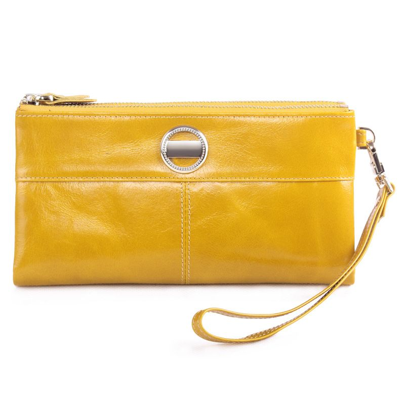 Wax Oil leather wallet female two zipper two folds wax genuine leather large clutch zipper clutch long size purse delicated