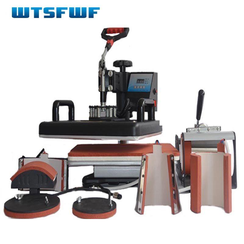 Wtsfwf Neue 30*38 CM 7 in 1 Kombinierter Hitzepresse Drucker Maschine Sublimation Transfer Drucker für Kappe Becher platten T-shirts