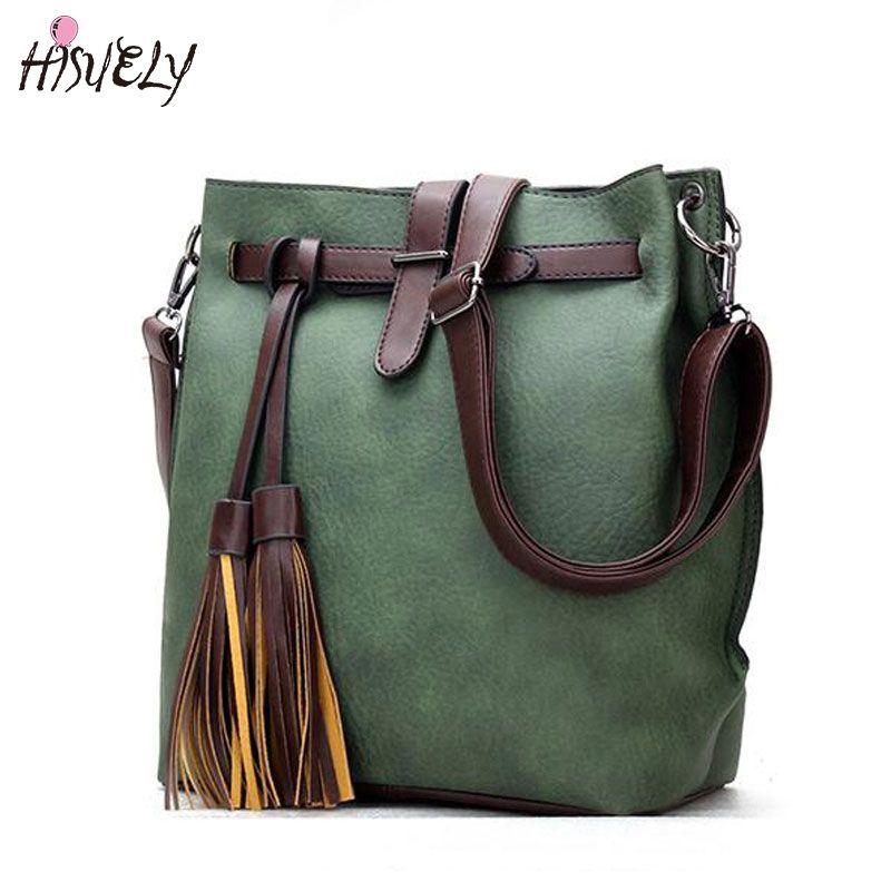 HISUELY Hot <font><b>Sale</b></font> New Women PU Leather Handbags Tassel Fashion Designer Black Bucket Vintage Shoulder Bags Women Messenger Bag