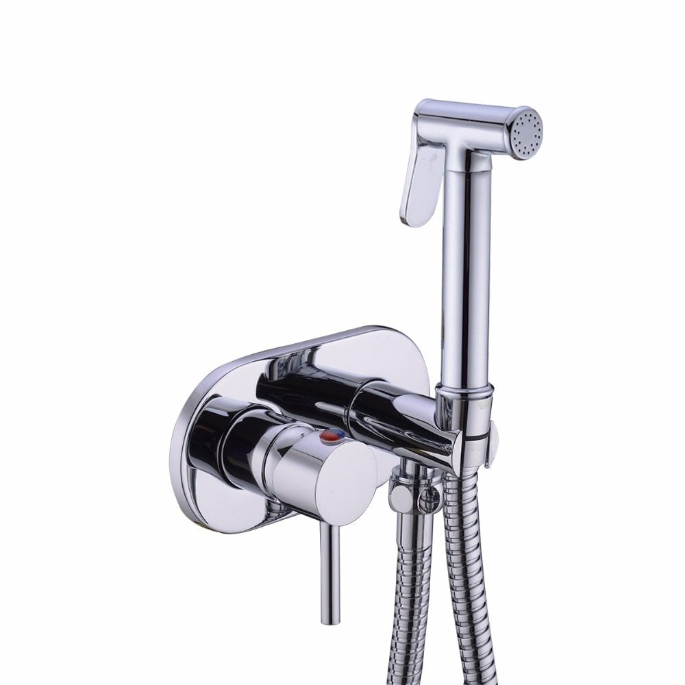 NEW Concealed Install Hot and Cold Mixing Handheld Bidet Diaper Sprayer Shataff Bidet Douche Shower Toilet Spray Kit 02-196