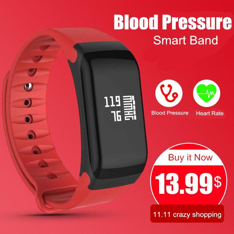 Blood Pressure Monitor Smart Band F1 Smart Watch Fitness Tracker Activity Wristband Heart Rate Monitor Pedometer Smart Bracelet