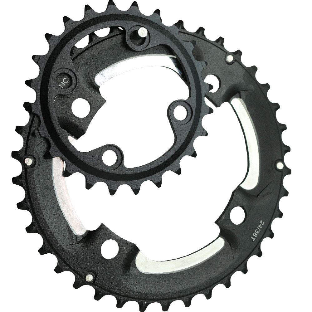 Ganopper 24 T 38 T M610 M615 64BCD 104BCD pédalier vélo VTT 2X système manivelle plateau 7075 Alu partie vélo