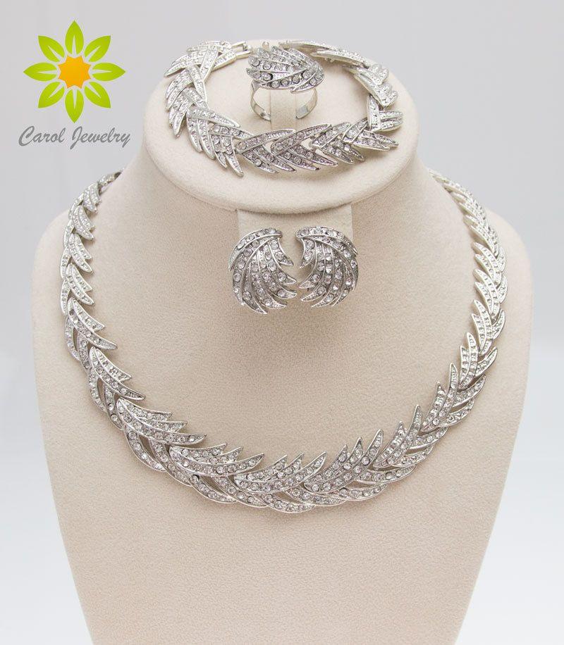 Livraison gratuite 2017 feuilles forme argent plaqué cristal clair bijoux ensemble nouvelle mode mariage mariée africaine Costume bijoux ensembles