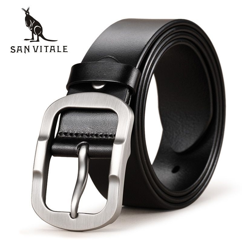 SAN VITALE Cowhide Genuine Leather Mens Belts for Men Brand <font><b>Strap</b></font> Male Pin Buckle Fancy Vintage Cowboy Jeans Cintos Freeshipping