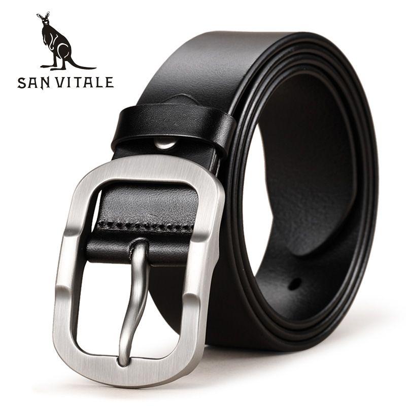 SAN VITALE Cowhide <font><b>Genuine</b></font> Leather Mens Belts for Men Brand Strap Male Pin Buckle Fancy Vintage Cowboy Jeans Cintos Freeshipping