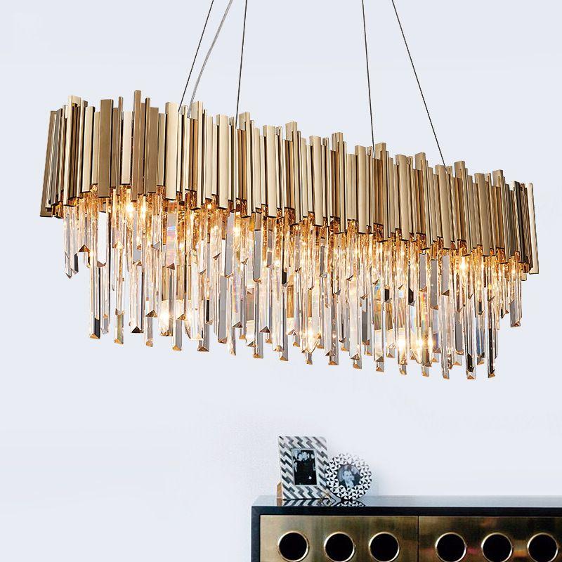 Modern Oval Crystal Chandelier Lighting Lustre Cristal Chandeliers Hanging Light Gold Finish E12/E14 110V/220V CE/UL Certified