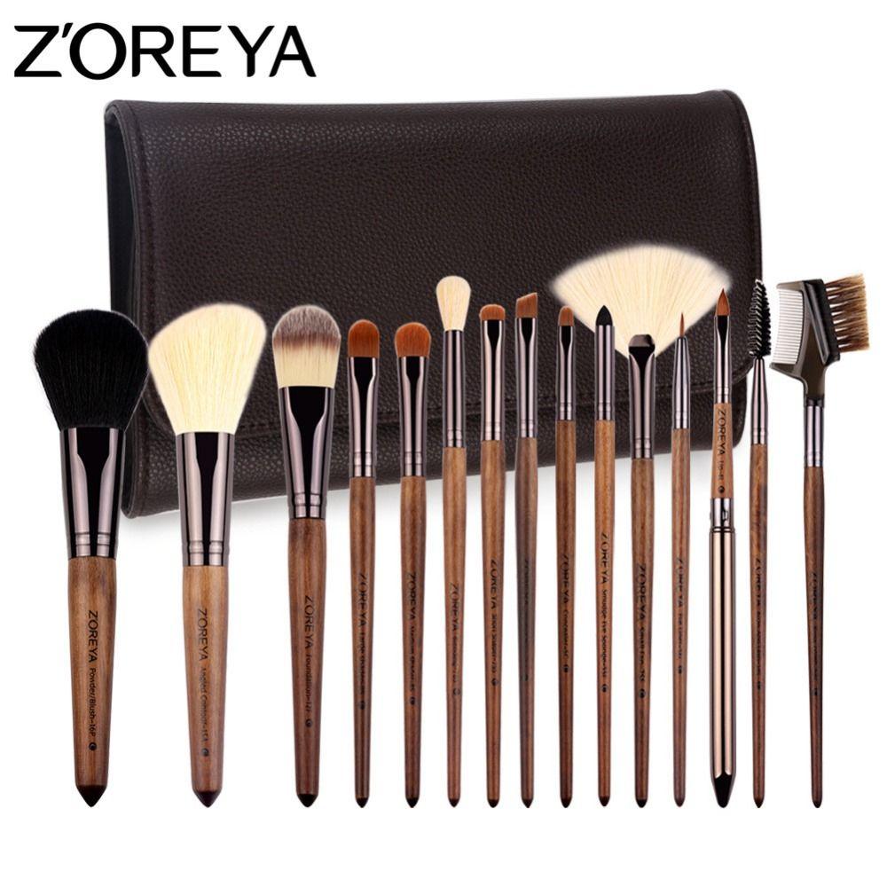 ZOREYA marque pinceaux de maquillage 15 pièces pinceaux cosmétiques professionnels avec sac en cuir synthétique polyuréthane comme outil de maquillage pour beauté ensemble de pinceaux essentiels