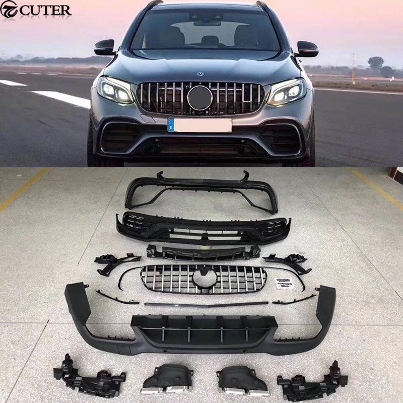 GLC300 GLC63 AMG stil Auto body kit PP Unlackiert vorne stoßstange Hinten für Mercedes Benz GLC63 AMG body kit