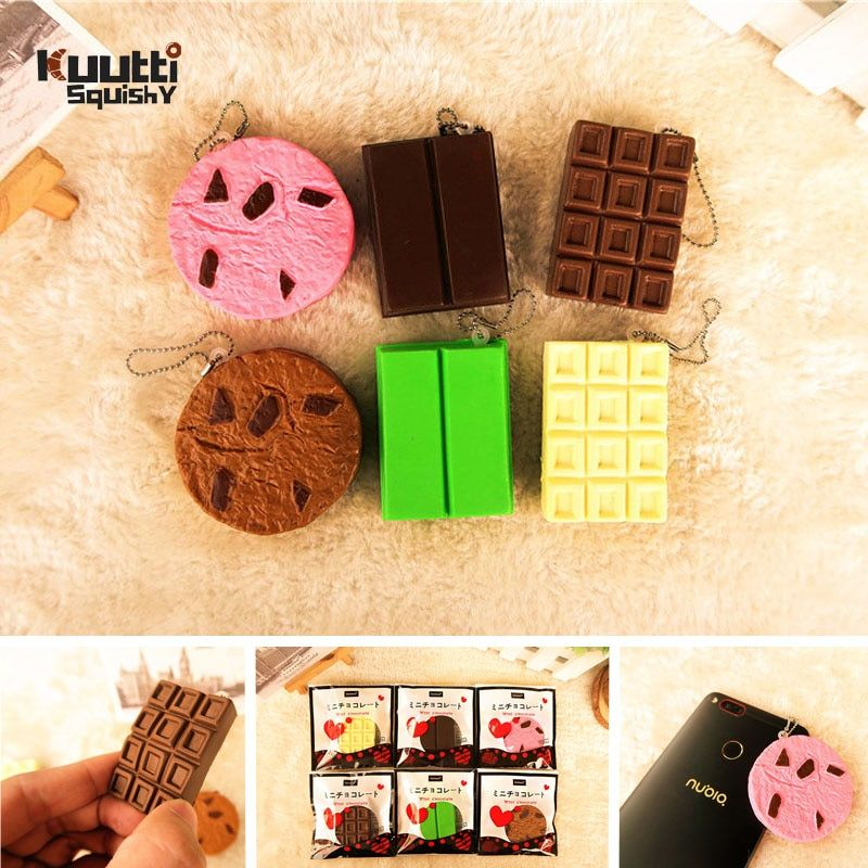 Kuutti Squishy Kawaii Bendable Choc Cookie Chocolate Bar Biscuit Cracker Metal Inside Stress Relief Hard Squishy Charm Straps