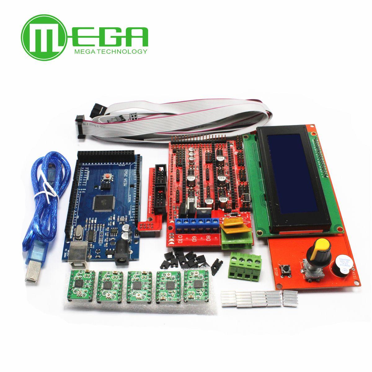 3D Printer Kit Mega 2560 R3 + 1Pcs RAMPS 1.4 Controller + 5Pcs A4988 Stepper Driver Module / RAMPS 1.4 2004 LCD Control