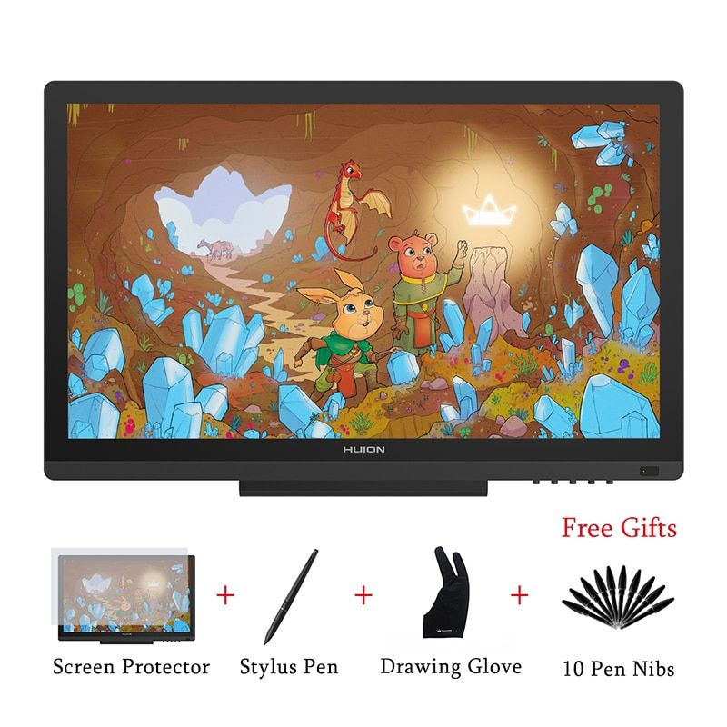 New HUION KAMVAS GT-191 8192 Levels IPS Pen Tablet Monitor Art Graphics Drawing Pen Display Monitor with Gifts