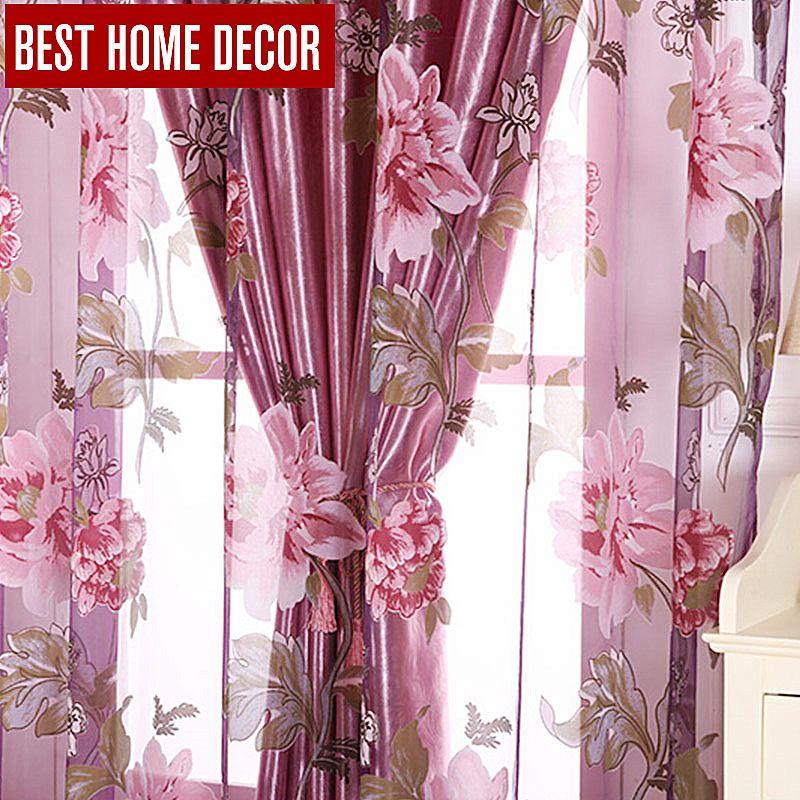 Meilleur décor à la maison floral fenêtre rideaux occultants pour salon la chambre moderne tulle rideaux pour stores de traitement de fenêtre