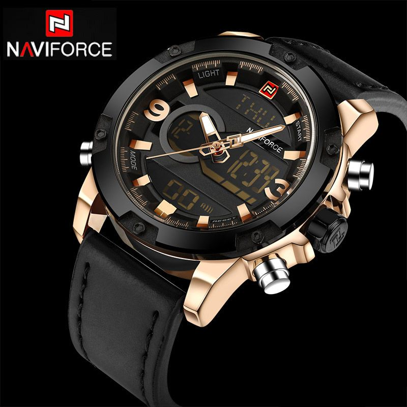 NAVIFORCE Mens Watches Top Luxury Brand Sport Men Watches Quartz Watch Analog Waterproof Sports Leather Army Military WristWatch