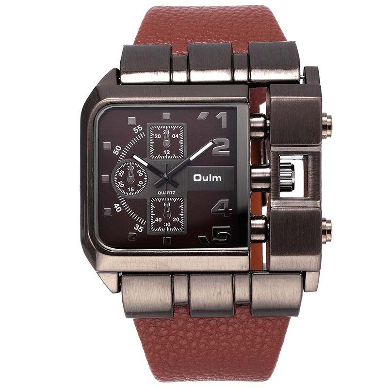 Luxury Design Oulm Quartz Watch Men's Wrist Watches Fashion Casual Leather Clock erkek <font><b>saat</b></font>
