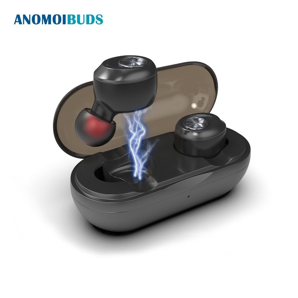 Anomoibuds Capsule Auto Pairing Wireless Bluetooth Earphone TWS Earbuds Noise Cancelling V5.0 Stereo Sport Earphone