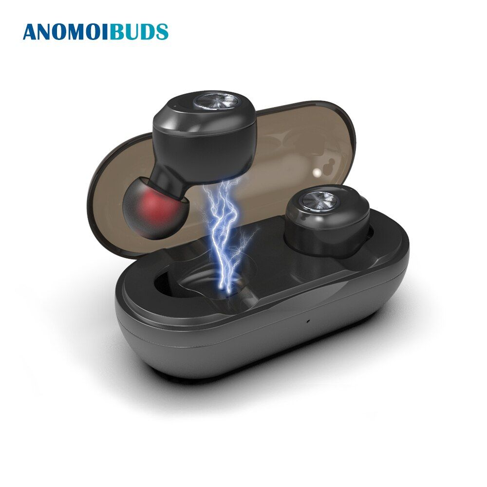 Anomoibuds Capsule Wireless Bluetooth Earphones TWS Earbuds Auto Pairing Noise Cancelling V5.0 Stereo Call Sport Earphone